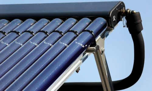 Close up of a solar heating installation